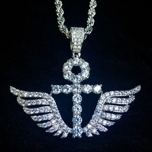 Other - ANKH WINGS DIAMONDS CZ 18K GOLD CHAIN ITALY